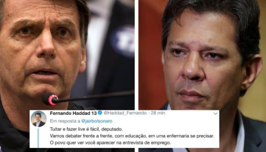 Sem debates na TV, Haddad confronta Bolsonaro pelo