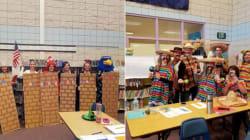 Se disfrazan de 'mexicanos' y de 'muro fronterizo' en escuela de