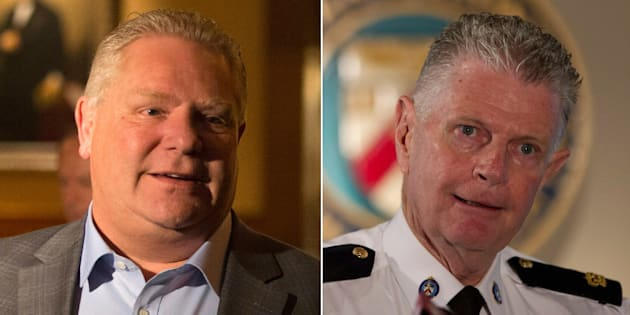Ontario Premier Doug Ford says he wasn't involved in selecting family friend Ron Taverner, right, as the Ontario Provincial Police's next commissioner.