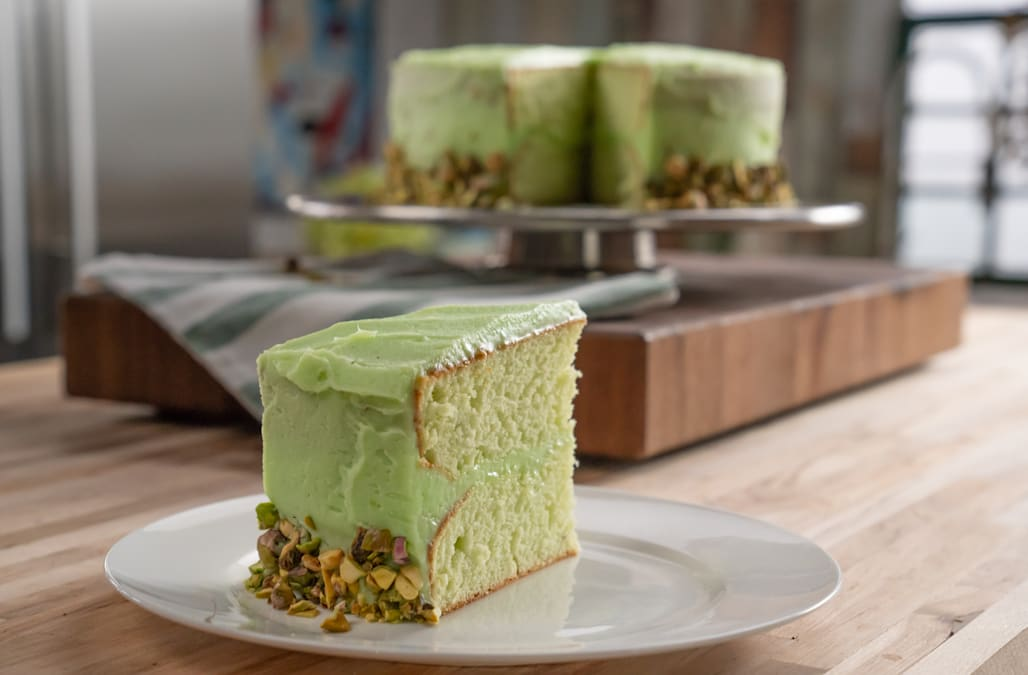 This light and fluffy pistachio cake is perfect for spring parties