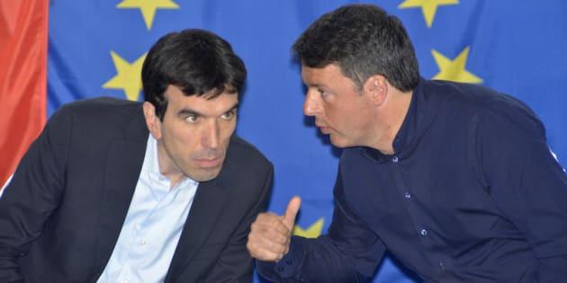 08/04/2017 Bari, presentazione Mozione Renzi per la segreteria del Partito Democratico. Nella foto Maurizio Martina e Matteo Renzi