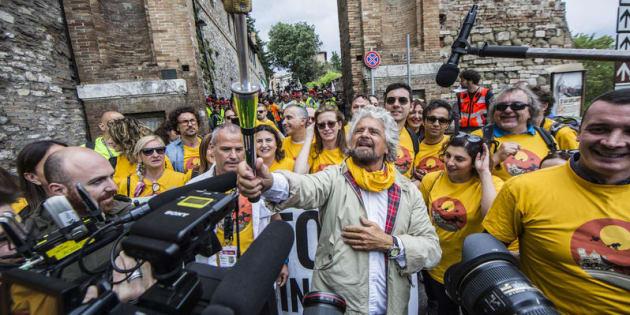 20 maggio 2017. Assisi, Marcia del Movimento 5 stelle per il reddito di cittadinanza