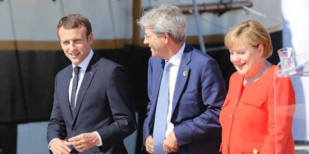 12/07/2017, Trieste, Vertice dei Balcani Occidentali. Nella foto il presidente della Repubblica francese Emmanuel Macron, il presidente del Consiglio Paolo Gentiloni, la Cancelliera tedesca Angela Merkel.