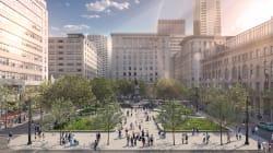 Montréal: le square Phillips grandit, les stationnements