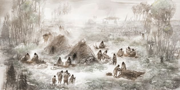 An illustration released Jan. 3, 2018 depicts the Upward Sun River base camp site in central Alaska, where the 11,500-year-old remains of a 6-week-old girl were discovered in 2013.