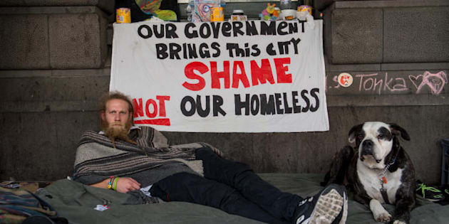 The homeless outside Flinders street, Melbourne