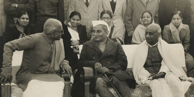 First Governor General Mr. C. Rajagopalachari with Dr. Rajendra Prasad (centre) and Sardar Vallabhbhai Patel (right), 1948.