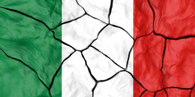 Italy Flag On Cracked background