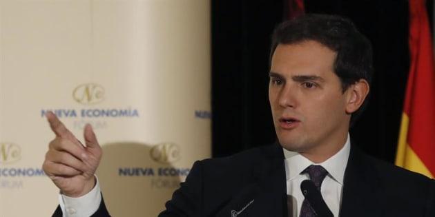 El líder de Ciudadanos, Albert Rivera, durante su discurso en un desayuno informativo para informar de los retos de su partido. EFE