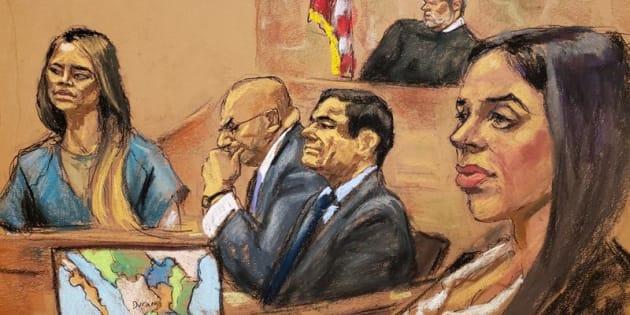 Reproducción fotográfica de un dibujo realizado por la artista Jane Rosenberg donde aparece la exdiputada mexicana y amante de Joaquín Guzmán Loera, Lucero Guadalupe Sánchez (i), mientras rinde testimonio junto al narcotraficante mexicano.