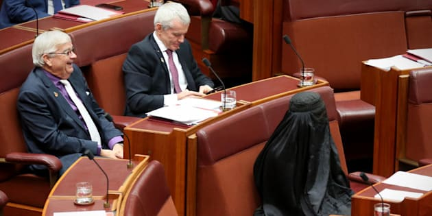 Pauline Hanson wears a burqa during question time at Parliament House in Canberra on Thursday 17 August.