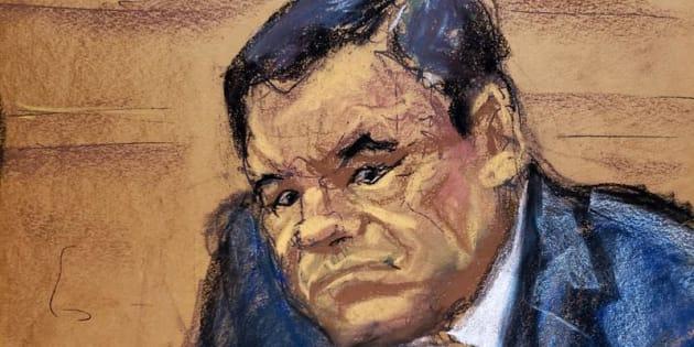 Reproducción fotográfica de un dibujo realizado por la artista Jane Rosenberg donde aparece el narcotraficante mexicano Joaquín, el Chapo, Guzmán mientras escucha a las personas que han testificado en el juicio que se lleva en su contra en el tribunal del Distrito Sur en Brooklyn, Nueva York.