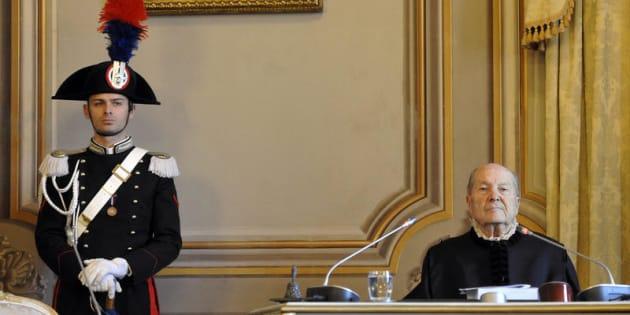 24/01/2017 Roma, Corte Costituzionale, seduta pubblica sulla costituzionalitàdella legge elettorale. Nella foto Paolo Grossi, presidente della Corte
