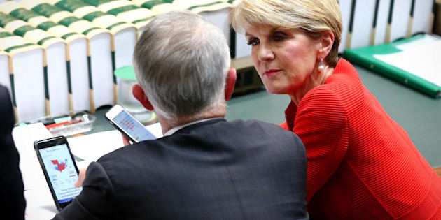 Malcolm Turnbull with Julie Bishop working out what the hell is going on in the United States