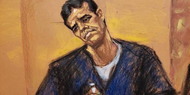 Reproducción fotográfica de un dibujo realizado por la artista Jane Rosenberg donde aparece Vicente Zambada, hijo de Ismael 'el Mayo' Zambada y uno de los testigos principales en el juicio por narcotráfico contra Joaquín 'el Chapo' Guzmán.