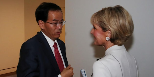 Foreign Minister Julie Bishop with Chinese Ambassador Cheng Jingye in Parliament House.
