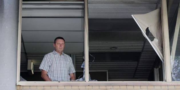 Lyle Shelton managing director of the Australian Christian Lobby in his burnt out office.