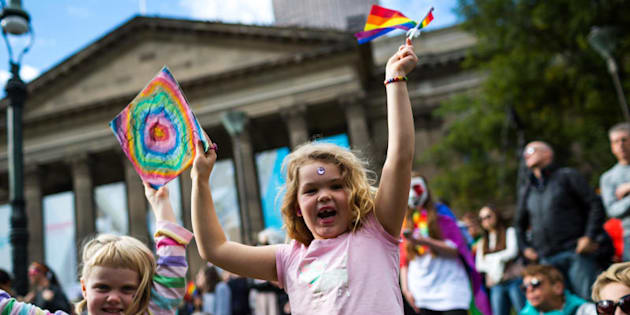 Support for equal marriage rights during an Equal Love marriage equality rally on May 20, 2017 in Melbourne.