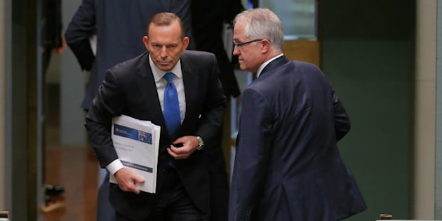 That day in September. Tony Abbott and Malcolm Turnbull depart at the end of Question Time, just before the leadership spill was called.