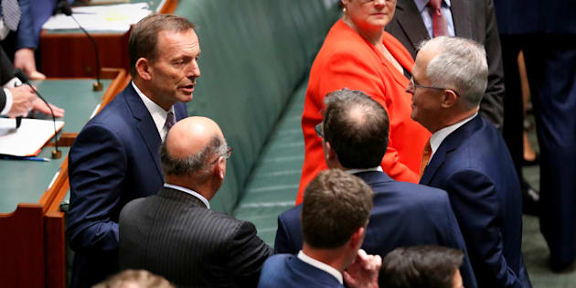 Former Prime Minister Tony Abbott chats with Prime Minister Malcolm Turnbull.