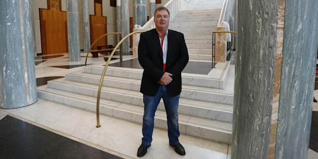 Rod Culleton in the marble foyer during his visit to Parliament House