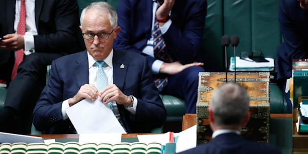 Prime Minister Malcolm Turnbull and Opposition Leader Bill Shorten eye off during Question Time.