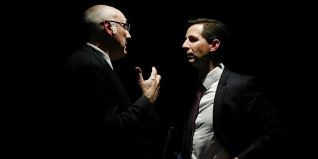 Universities Australia Chair Professor Barney Glover and Education Minister Simon Birmingham together, but not of the same mind on uni funding.