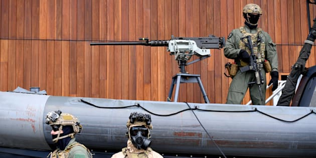 Special Operations Command soldiers are seen posing at Holsworthy Barracks in Sydney.