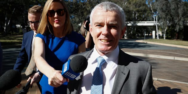 One Nation Senator Malcolm Roberts arrives at the High Court.