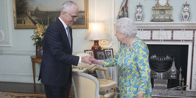 Queen Elizabeth II meets with the Prime Minister of Australia Malcolm Turnbull during an audience at Buckingham Palace.