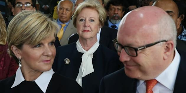 Foreign Affairs Minister Julie Bishop and Attorney-General George Brandis with Gillian Triggs at the 2015 launch of Australia's candidacy for the UN Human Rights Council.