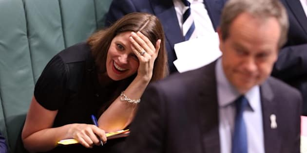 Kate Ellis reacts to an answer by Prime Minister Tony Abbott during question time at Parliament House in Canberra on Monday 24 November 2014