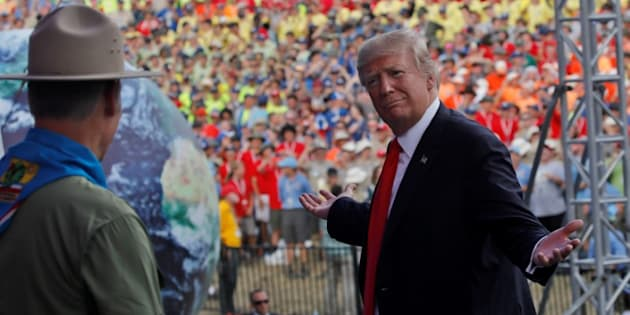 El presidente de EEUU, Donald Trump, tras su discurso en la reserva scout de Virginia occidental, el pasado día 24.