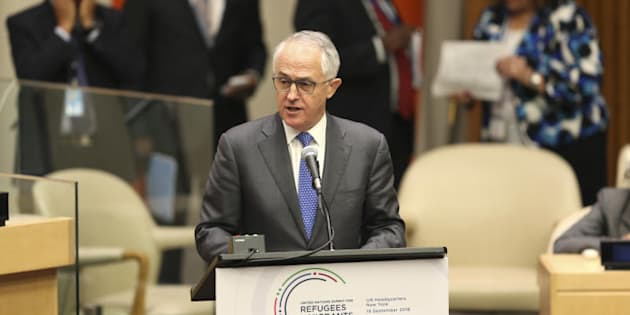 prime minister Malcolm Turnbull speaks during the Summit for Refugees and Migrants at U.N. headquarters