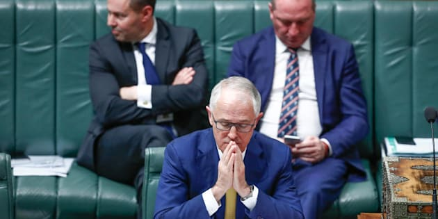Energy Minister Josh Frydenberg, Prime Minister Malcolm Turnbull and Deputy Prime Minister Barnaby Joyce during Question Time.