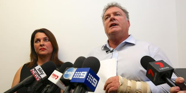 Senator Rod Culleton holds a press conference with his wife Ioanna Culleton at his office in Perth