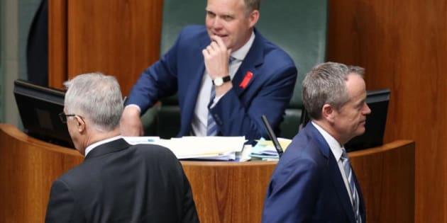 Opposition Leader Bill Shorten passes Prime Minister Malcolm Turnbull to vote against the Plebiscite (Same-Sex Marriage) Bill