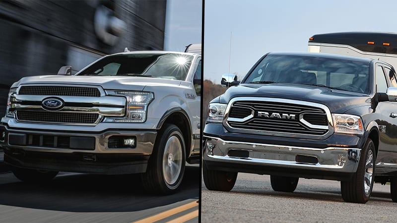 2018 Ford F-150 and 2018 Ram 1500 diesel full-size pickup trucks