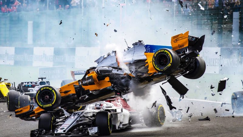 fernando alonso's car didn't survive belgian grand prix crash - autoblog
