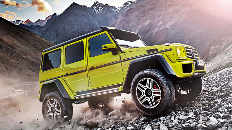 Mercedes g 500 4x4 is mighty mean and bright lime green for Mercedes benz g wagon squared