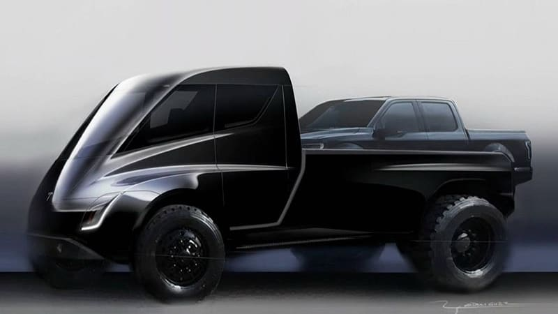 Tesla pickup truck looks like a mini Tesla semi with a giant bed