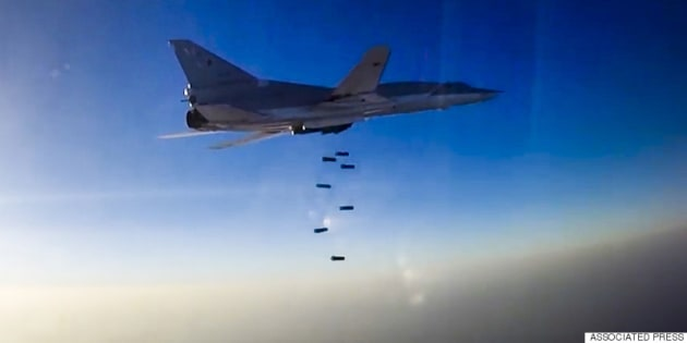 SYRIA - AUGUST 16, 2016: A Tupolev Tu-22M3 long-range bomber carries out airstrikes against ISIS and Al-Nusra Front targets in the Aleppo, Dayr al-Zawr and Idlib Governorates. This is the first time Russia's Aerospace Forces carry out air strikes against terrorist targets in Syria operating from Iran's Hamedan Air Base. Earlier, the Russian Aerospace Forces' long-range bombers used to take off at Russian airfields and frontline bombers at Hmeymim airbase in Syria. Video screen grab/Russian Defence Ministry's Press and Information Department/TASS (Photo by TASS\TASS via Getty Images)