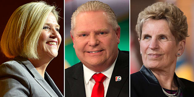 L to R: Ontario NDP Leader Andrea Horwath, PC Leader Doug Ford and Liberal Leader Kathleen Wynne faced off in the first debate ahead of the province's election in June.