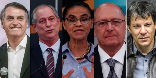 Datafolha mostra na sequência Bolsonaro, Ciro, Marina, Alckmin e Haddad.