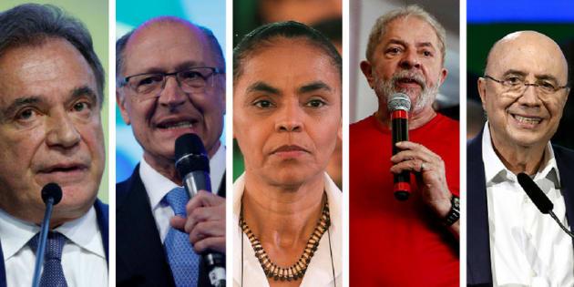Alvaro Dias, Geraldo Alckmin, Marina Silva, Lula e Henrique Meirelles.