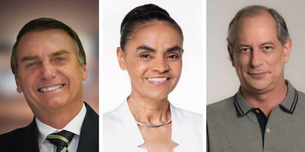 Jair Bolsonaro, Marina Silva e Ciro Gomes são, no momento, os presidenciáveis que mais pontuam no Datafolha.