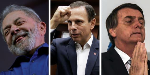 Lula, João Doria e Jair Bolsonaro são alguns dos nomes mais cotados para as eleições 2018.