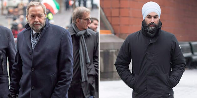 "Former NDP leader Tom Mulcair, left, has said it would be ""extremely difficult"" for his successor Jagmeet Singh to stay on as the party's leader should he lose an upcoming byelection."