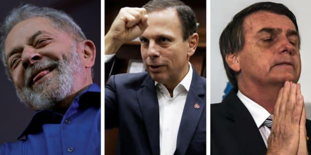 Lula, Doria e Bolsonaro são alguns dos principais pré-candidatos para o pleito de 2018.