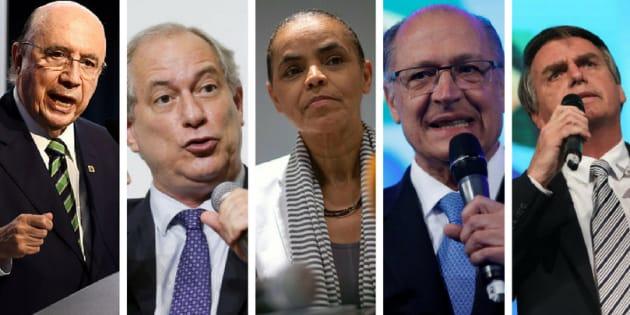 Henrique Meirelles, Ciro Gomes, Marina Silva, Geraldo Alckmin e Jair Bolsonaro.